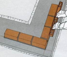 Кирпичная кладка угла наружной версты